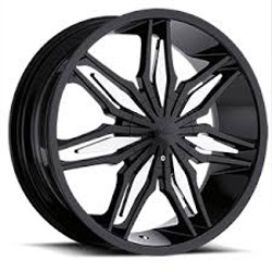 Milanni 368-STALKER Gloss Black W/ Chrome Inserts 20X8 5-114.3 Wheel
