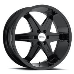 Milanni 446-KOOL WHIP RWD 6 SPOKES Gloss Black W/ Chrome Cap 24X10 6-135 Wheel