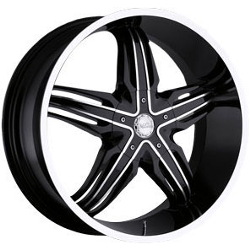Milanni 458-PHOENIX Black Machined Spoke Face & Outer Lip 28X10 8-165.1 Wheel
