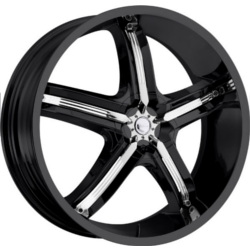 Milanni 459-BEL-AIR 5 Gloss Black W/ Chrome Inserts 22X9 5-120 Wheel