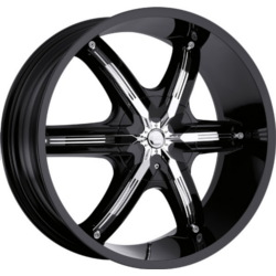 Milanni 460-BEL-AIR 6 Gloss Black W/ Chrome Face Plate 24X10 5-135 Wheel