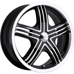 Milanni 461-STEALTH Gloss Black Machined Face 17X7 5-108 Wheel