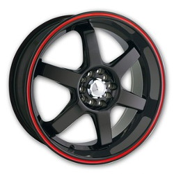 Akita AK-55 Black W/ Red Ring 18X8 4-100 Wheel