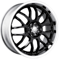 Akita AK-6 Black W/ Machined Lip 18X8 5-112 Wheel