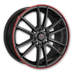 Akita AK-77 Black W/ Red Ring 17X7 5-114.3 Wheel