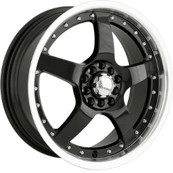 Akita AK-8 Black W/ Machined Lip 17X7 4-100 Wheel