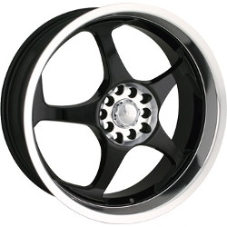 Akita AK-90 Black W/ Machined Face Lip & Hub 18X8 5-100 Wheel