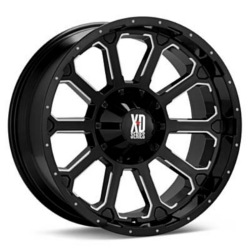 KMC-XD Series BOMB Gloss Black With Milled Accents 22X10 8-165.1 Wheel