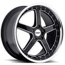 TSW CARTHAGE Gloss Black W/Mirror Lip & Milled Spokes 19X8 5-120 Wheel