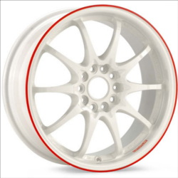 Volk Racing CE28N White/Red 18X10 5-114.3 Wheel
