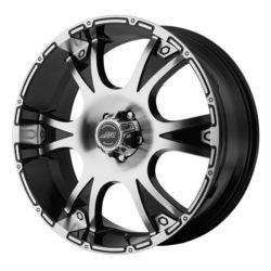 American Racing DAGGER Black/Machined 22X8 5-120 Wheel
