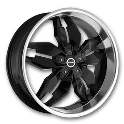 Strada FORCHETTA Black W/ Machined Lip 22X9 5-108 Wheel