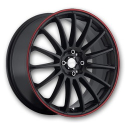 Katana Racing K15 Matte Black W/ Red Stripe 18X8 5-114.3 Wheel