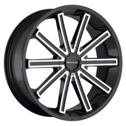KMC KM681 Gloss Black With Machined Face 22X9 5-112 Wheel