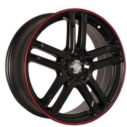Katana Racing KR10 Matte Black W/ Red Stripe 17X7 4-100 Wheel