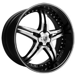 Lexani LX-15 Black/Machine Ss Lip 22X10 5-112 Wheel