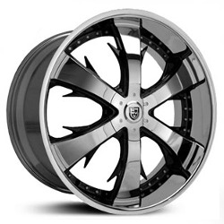Lexani LX-704 Black/Machine Ss Lip 18X8 5-112 Wheel