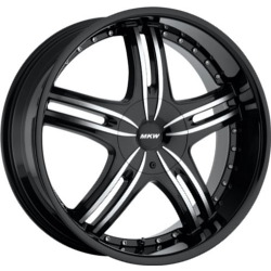 MKW M105 Gloss Black Machined Face Wheel
