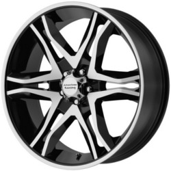 American Racing MAINLINE Gloss Black Machined 17X8 5-120 Wheel