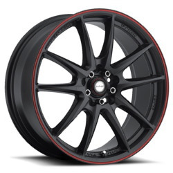 Ninja NJ01 Matte Black W/ Red Stripe 18X8 5-100 Wheel