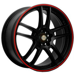 Ninja NJ02 Matte Black W/ Red Stripe 18X8 4-100 Wheel
