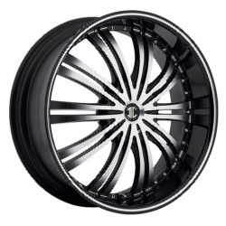 2 Crave No.1 Glossy Black/Machined Face & Stripe 22X9 5-115 Wheel
