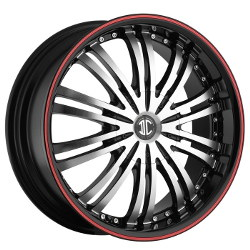 2 Crave No.1 Glossy Black/Machined Face/Red Stripe 22X9 5-120 Wheel