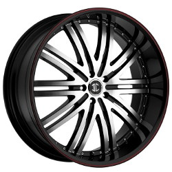 2 Crave No.11 Glossy Black/Machined Face/Red Stripe 22X10 6-135 Wheel