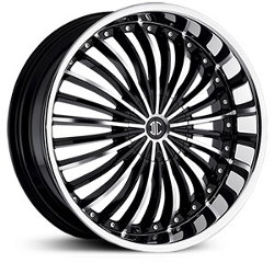 Black Diamond No.13 Glossy Black/Machined Face/Chrome Lip 20X8 4-100 Wheel