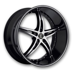 Black Diamond No.14 Glossy Black/Machined Face & Stripe 22X9 5-120 Wheel