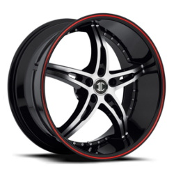 Black Diamond No.14 Glossy Black/Machined Face/Red Stripe 20X9 5-108 Wheel