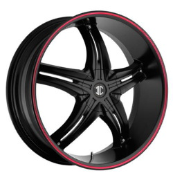 Fiero No.15 Satin Black / Red Stripe 24X10 5-115 Wheel
