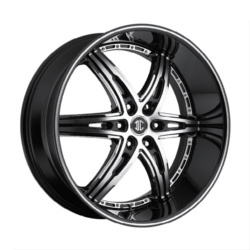 2 Crave No.16 Glossy Black / Machined Face / Stripe 22X10 6-127 Wheel