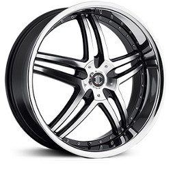 2 Crave No.17 Glossy Black/Machined Face/Chrome Lip 22X9 5-115 Wheel