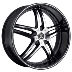 2 Crave No.17 Glossy Black / Machined Face / Stripe 18X8 4-108 Wheel