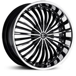 2 Crave No.19 Glossy Black/Machined Face/Chrome Lip 24X10 6-127 Wheel