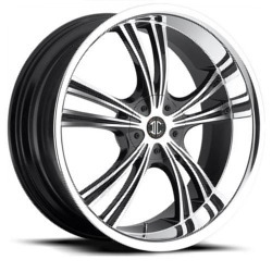 Black Diamond No.2 Glossy Black/Machined Face/Chrome Lip 20X10 5-120 Wheel