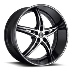 Black Diamond No.25 Glossy Black / Machined Face / Stripe 22X10 5-115 Wheel
