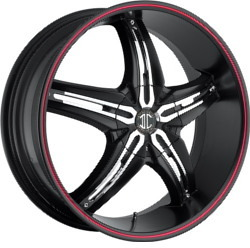 Fiero No.5 Glossy Black/Machined Face/Red Stripe Wheel