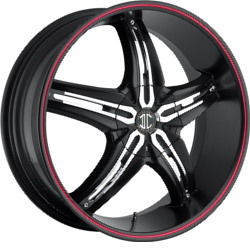 Fiero No.5 Satin Black / Red Stripe 22X9 5-112 Wheel