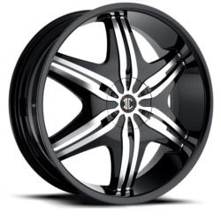 2 Crave No.6 Glossy Black/Machined Face 22X8 5-110 Wheel