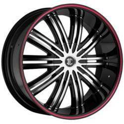 Fiero No.7 Glossy Black/Machined Face/Red Lip 24X10 5-139.7 Wheel