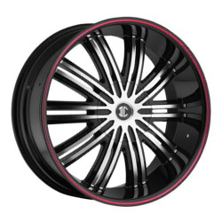 Fiero No.7 Glossy Black/Machined Face/Red Stripe 24X10 5-150 Wheel