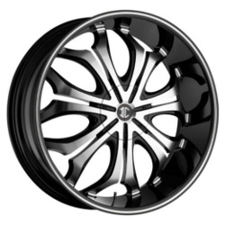 Black Diamond No.8 Glossy Black/Machined Face & Stripe Wheel