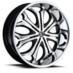 Black Diamond No.8 Glossy Black/Machined Face/Chrome Lip 22X10 6-135 Wheel