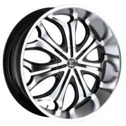 Black Diamond No.8 Glossy Black/Machined Face 24X9 6-135 Wheel