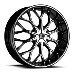 2 Crave No.9 Glossy Black/Machined Face & Stripe 20X8 4-100 Wheel
