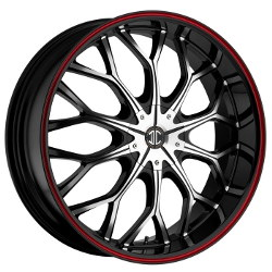2 Crave No.9 Glossy Black/Machined Face/Red Stripe 22X8 5-100 Wheel
