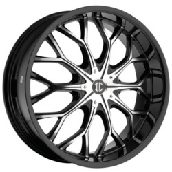 2 Crave No.9 Glossy Black/Machined Face 22X8 5-112 Wheel
