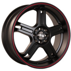 Katana Racing RZ5 Matte Black W/ Red Stripe 17X7 5-100 Wheel